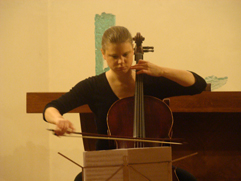 "http://www.Brikcius.com - Anna Brikciusová: Czech Cellist - Project ""Brikciusová Na Prádle"" (Poetry reading ""Brikciusová Na Prádle - My zemí nejdeme"" from the work of Anna Brikciusová in the interpretation of Jan Židlický and accompaniment of cellist Anna Brikciusová. The 14th Poetry Day Festival, this festival is annually held to commemorate the birth the Czech poet Karel Hynek Mácha). Kostel sv. Jana Křtitele Na Prádle in Prague."