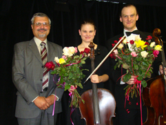"http://www.Brikcius.com - JUDr. Milous Cervencl - head of the Lidice Memorial, DUO BRIKCIUS, Anna Brikciusova: Czech Cellist & Frantisek Brikcius: Czech Cellist, concert ""Duo Brikcius - 2 Cellos Tour"" (Lidice, Memorial Lidice, 2008)"