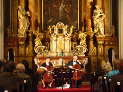 "http://www.Brikcius.com - DUO BRIKCIUS, Anna Brikciusova: Czech Cellist & Frantisek Brikcius - Czech Cellist, final concert ""Duo Brikcius - 2 Cellos Tour"" (Prague, Military Church of St. Jan Nepomuk, 2008)"