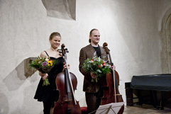 Czech Cellist Anna Brikciusová and Czech Cellist František Brikcius; concert J. S. BACH: CELLO SUITES; Festival Brikcius 2015 - The 4th Chamber Music Concert Series at the Stone Bell House in Prague #Bach330. Photo: Alina Bogdana Mihai. http://Festival.Brikcius.com