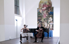 Two cellists, brother and sister Anna Brikciusová and František Brikcius (Duo Brikcius); cello concert DUO BRIKCIUS - ITALIAN BAROQUE MASTERS; Festival Brikcius 2015 - The 5th Chamber Music Concert Series in Prague. Photo: Alina Bogdana Mihai, http://Festival.Brikcius.com