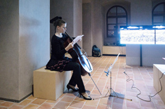 zech poet and cellist Anna Brikciusová; poetry reading V majáku; Poetry Day Festival 2017 in Prague. Festival Brikcius - the 6th Chamber Music Concert Series in Prague 2017. Photo: Alina Bogdana Mihai, http://Festival.Brikcius.comhttp://Festival.Brikcius.com