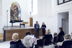 Czech cellist František Brikcius and Giovanni Sciola, the director of the Istituto Italiano di Cultura in Prague; charity concert <1918> for Médecins Sans Frontières; Festival Brikcius - the 7th Chamber Music Concert Series in Prague 2018. Photo: Alina Bogdana Mihai, http://Festival.Brikcius.com
